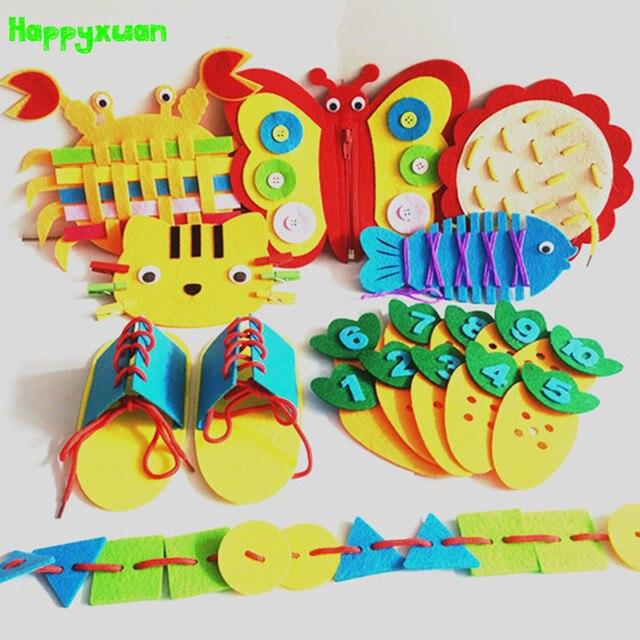 Happyxuan 8 diseños niños Montessori Kit de enseñanza preescolar SIDA DIY materiales de fieltro Kindergarten bebé educación juguete de aprendizaje