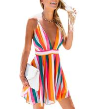 2019 Fashion Summer Sexy Women Sleeveless Colorful Striped Deep V Neck Backless Sling Lady Beach Party Casual Loose Mini Dress цена