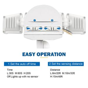 Image 3 - Luz de segurança do diodo emissor de luz 42w sensor de movimento ao ar livre luz de segurança 3 cabeças luz de inundação à prova dwaterproof água 3000lm 6000k iluminação ajustável