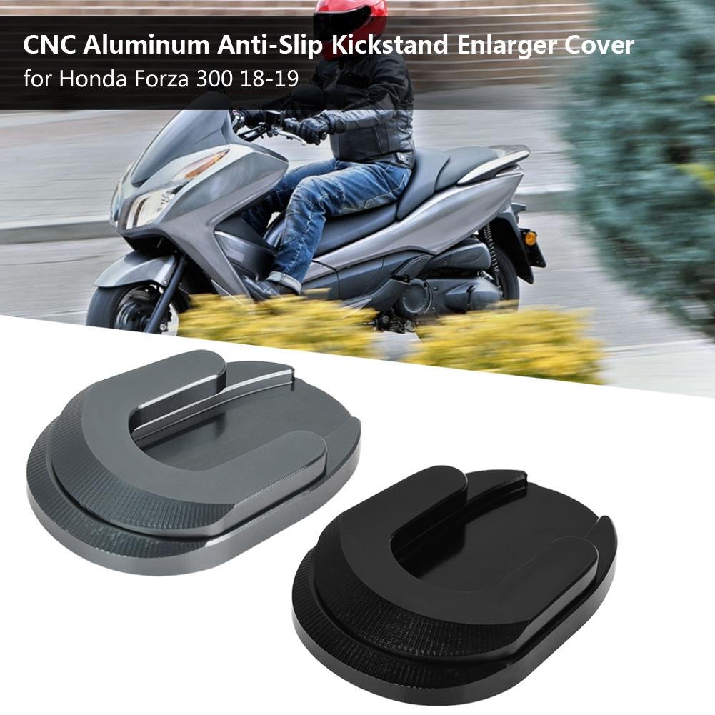 Motorcycle Stand CNC Aluminum Anti-Slip Kickstand Enlarger Cover for Honda Forza 300 18-19 Motorcycle Side Stand Extension