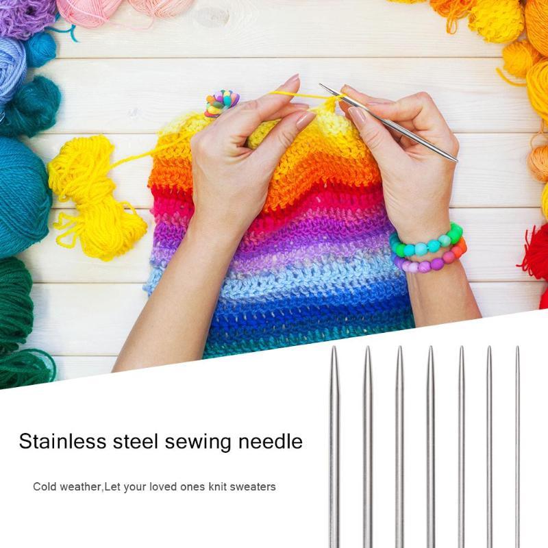 35pcs/Set 20cm Stainless Steel Straight Knitting Needles For Crochet Sewing