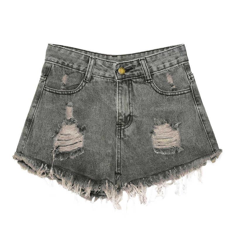 Romacci 2019 новые модные женские джинсовые шорты потертые рваные шорты джинсы с бахромой Высокая талия 6XL плюс размер тонкие джинсы короткие