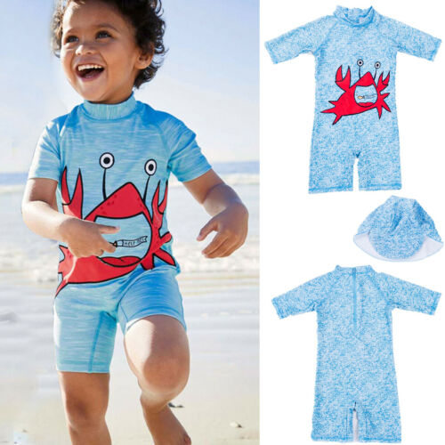 The Best Summer Boy Swim Short Sleeve Crab Swimming One Piece Swimwear Hat Kids Baby Swimsuit Bathing