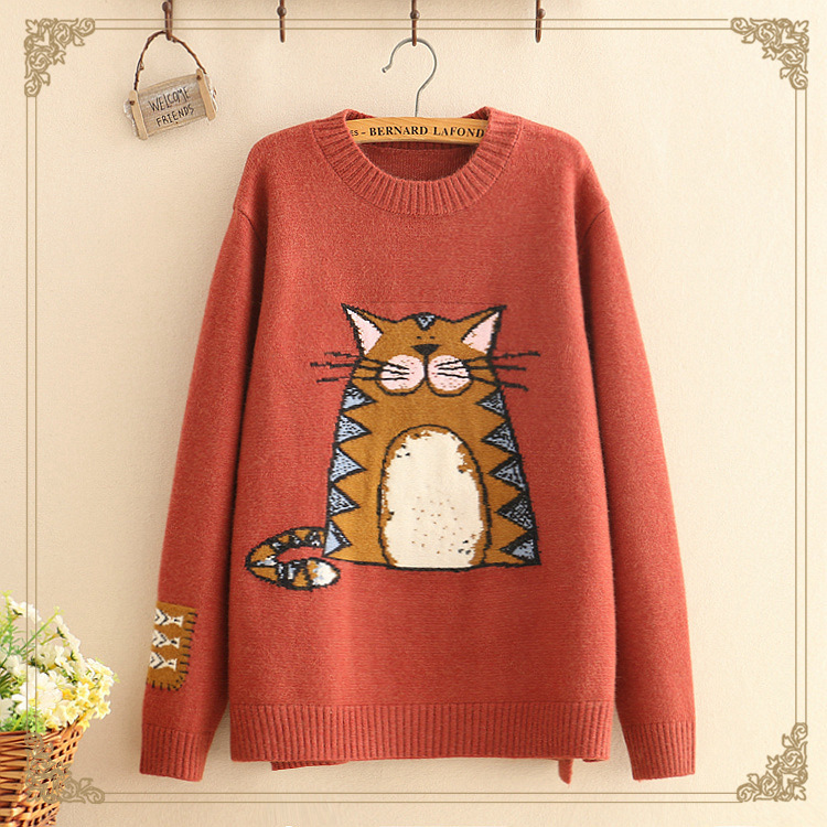 9518091709 Hiver De Mori Dessinée coffee Automne Black Vintage yellow cou O red Fille Chandail Pull Bande Totoro qp477wdn
