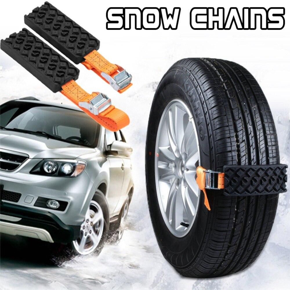 2 piezas de coche cadenas de nieve antideslizante cadena Universal de Nylon de goma nieve Cadena de barro salón neumático de coche de emergencia antideslizante Correa