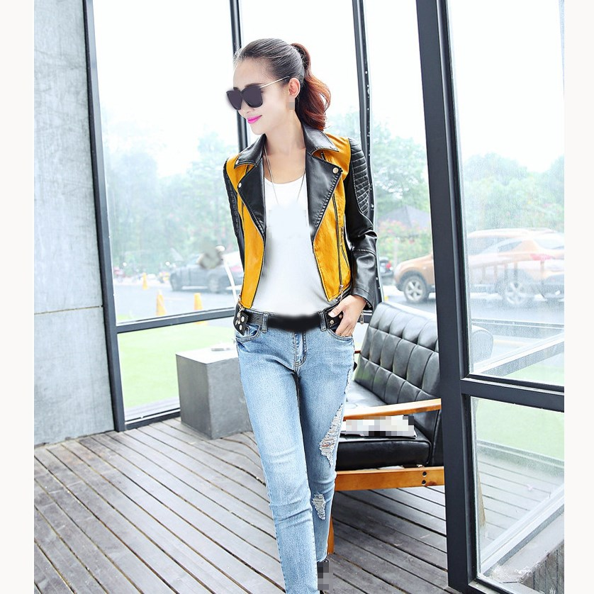 Autumn Women Motorcycle PU   Leather   Jacket Patchwork Color Zipper PU Coat Plus Size Biker Coat Outwear