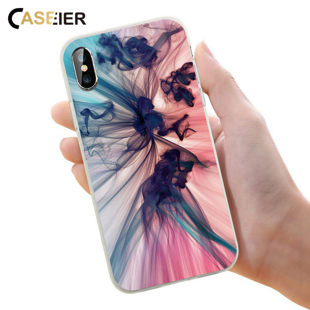 CASEIER Colorful Ink Phone Case For iPhone 6 6s Plus 7 8 Plus X Soft Silicone For iPhone 6 6s 5 5s SE Capinha Accessories Capa in Fitted Cases from Cellphones Telecommunications