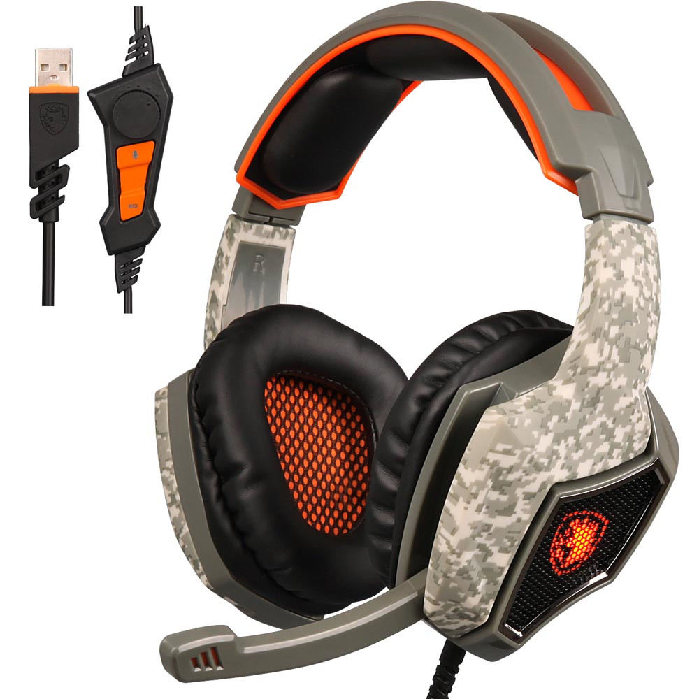 SADES SA-917 Camouflage USB Wired Esports Gaming Headset For Desktop PC Gamer Stereo Gaming Headphone With MicrophoneSADES SA-917 Camouflage USB Wired Esports Gaming Headset For Desktop PC Gamer Stereo Gaming Headphone With Microphone