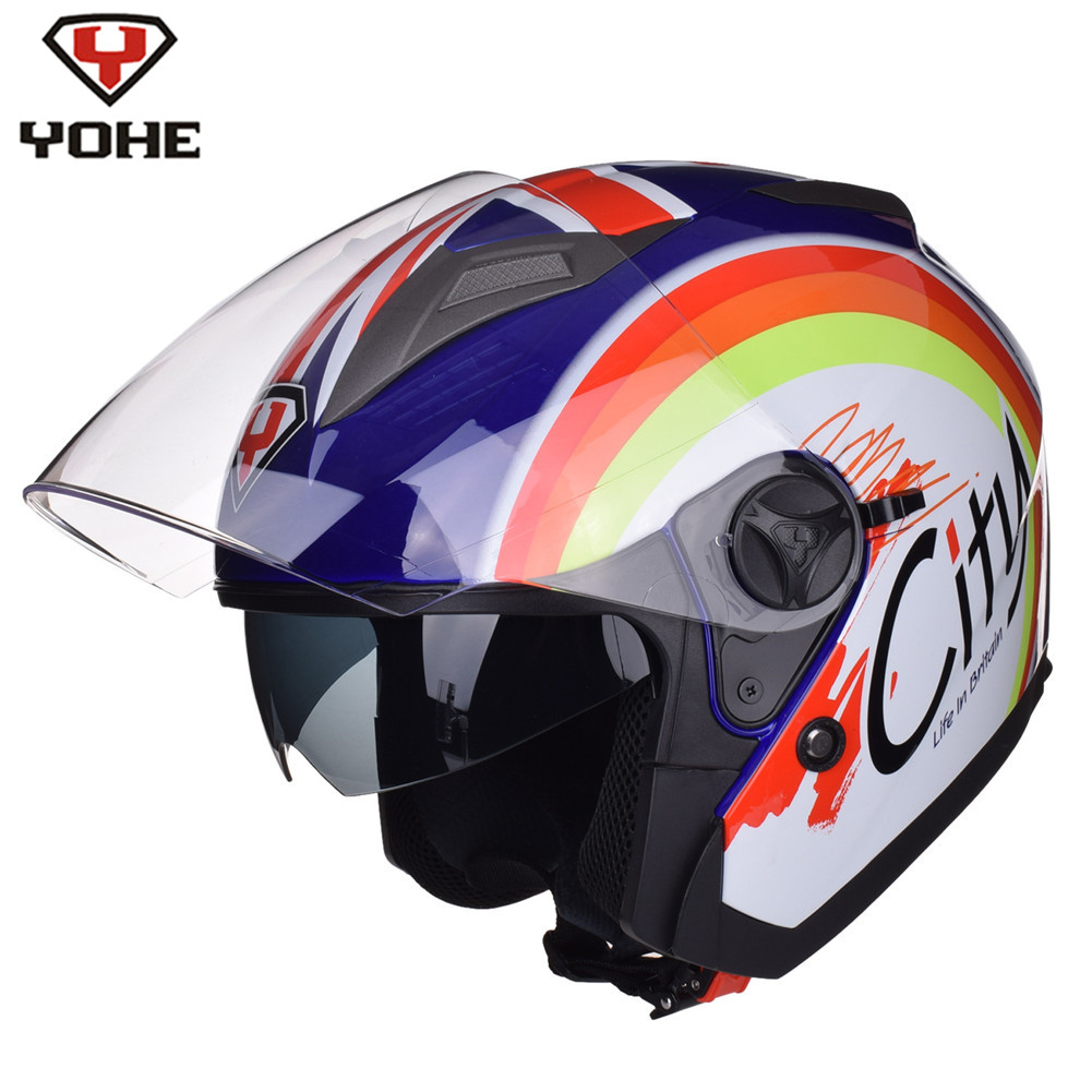 YOHE CITY Open Face Motorcycle Helmet Dual Visors Scooter Casco Casque Capacete Moto Helm Jet Helmets For Vespa Motorbike
