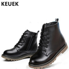 Genuine leather Ankle Motorcycle boots Autumn Winter Children boots Brand Boys Girls shoes Lace-Up Kids Snow boots 020 недорого