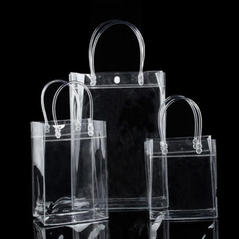 1 Pc Klar Wasserdichte Pvc Handtaschen Transparent Reusable Faltbare Einkaufstasche Lebensmittel Eco Freundliche Tote Lagerung Tasche Taste Beutel
