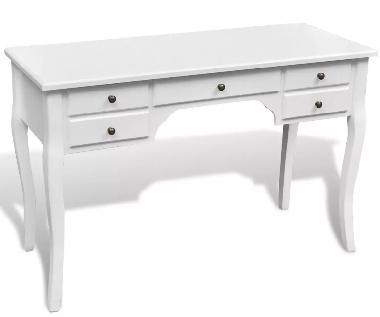 VidaXL High Quality Bedroom Desk With 5 Drawers White Office Table Wood Covered Work Desk With Storage Drawers