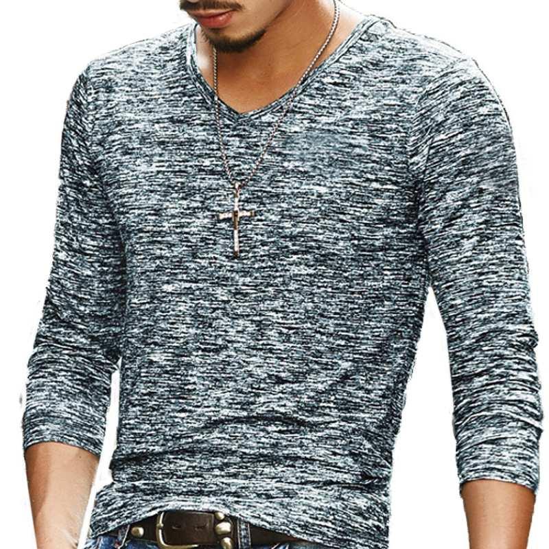 2017 Autumn New Fashion Brand Clothing Tshirt Men Plain Slim Fit Long Sleeve Basic T Shirt Men Casual T-Shirt Leisure Streetwear