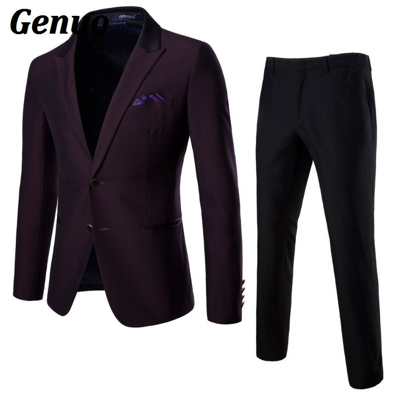 Genuo 2018 Men Suits for Wedding Dress Fashion Two Buttons with pants Business Formal Silm Fit Blazer 2 piece set