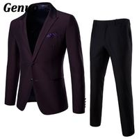 Genuo 2018 Men Suits for Wedding Dress Fashion Men Two Buttons Suits with pants Business Formal Silm Fit Blazer 2 piece set