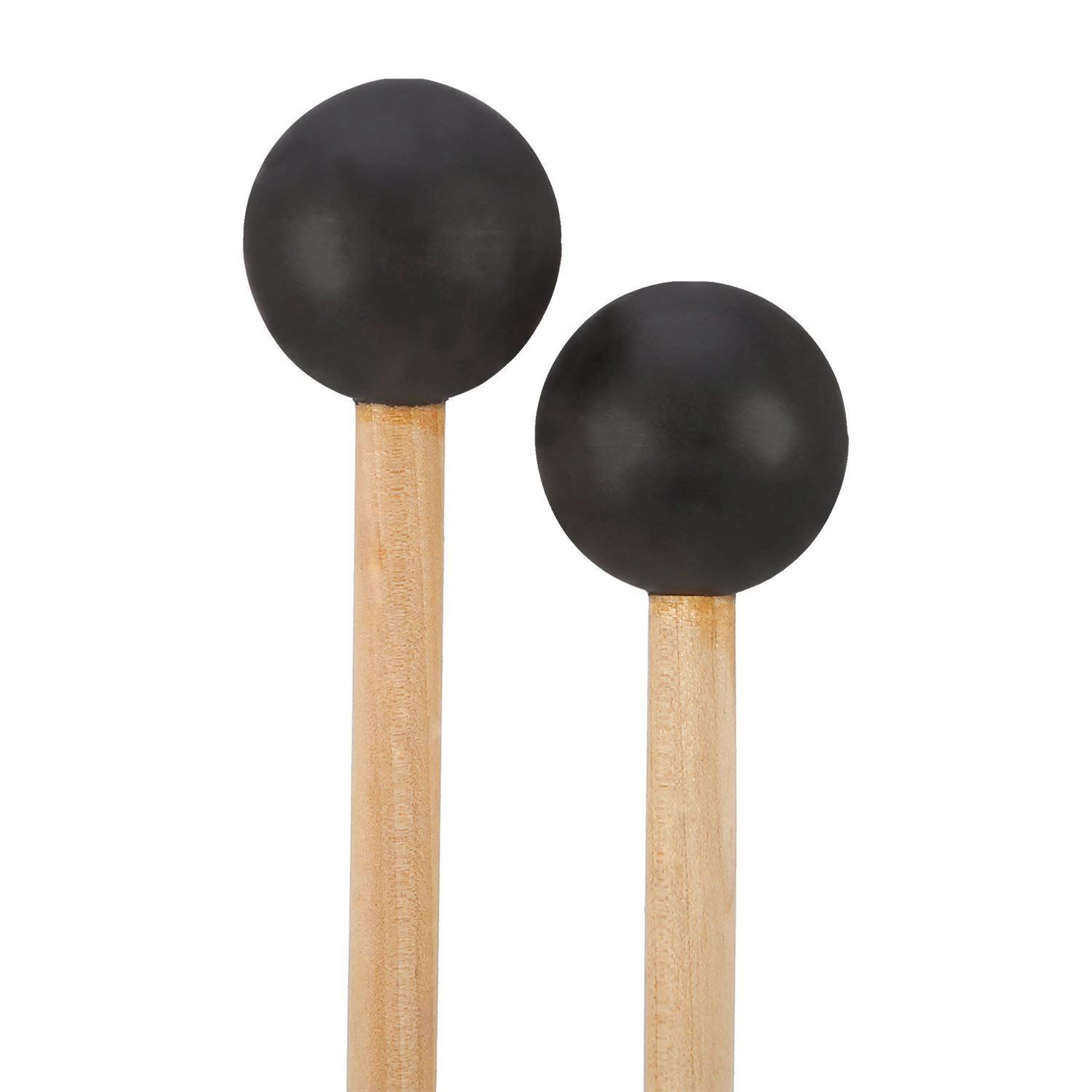 HOT-Bell Mallets Glockenspiel Sticks, Rubber Mallet Percussion With Wood Handle, 15 Inch Long (Black)