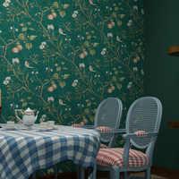 Amerikanischen Pastoralen Blume Und Vogel Tapete Vintage Apple Baum Wandbild Tapeten Roll Grüne Gelbe Wand Papier Papier Peint Qz035