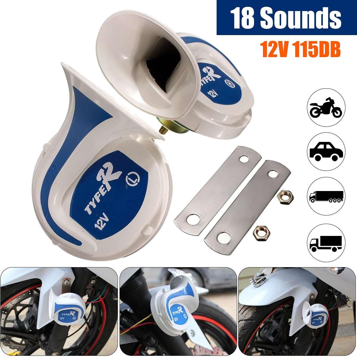 12 v 115 db chifre auto alto falante digital sirene elétrica de ar alto caracol chifre magia 18 sons sistema alarme segurança em casa alto