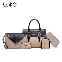 LUCDO 5 Piece/Set New Women Shoulder Bags Fashion Leather Handbags High Quality Crossbody Sac Messager Rivets Cuir Femme Purse