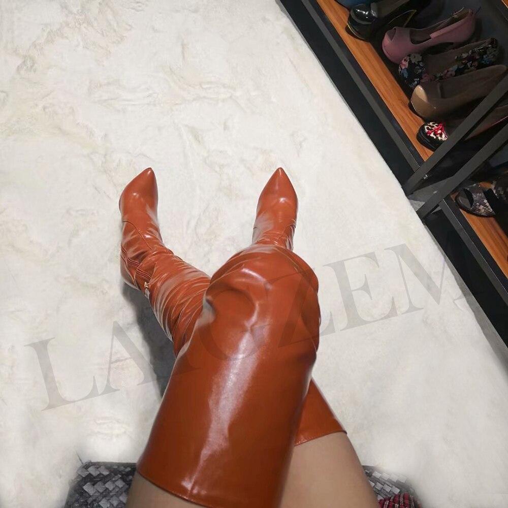 Bout 4 Zipper Botines Sur Lgz161 Bottes Taille Le Genou Femmes Chaussures Pointu Sexy Pour Brown Grande Femme Stiletto Laigzem Hauts 14 Mujer Talons wHp4qzE