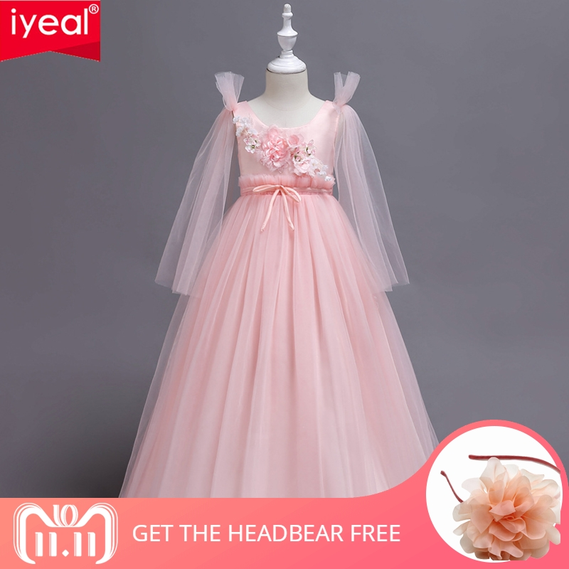 IYEAL Kids Girls Long Flower Party Ball Gown Prom Dresses Child Girl Princess Wedding Children First Communion Dress for 5-14Y fall girls princess dress set kids mesh vest robe and long sleeve t shirt 2pcs suit ball gown party clothing for 4y 14y