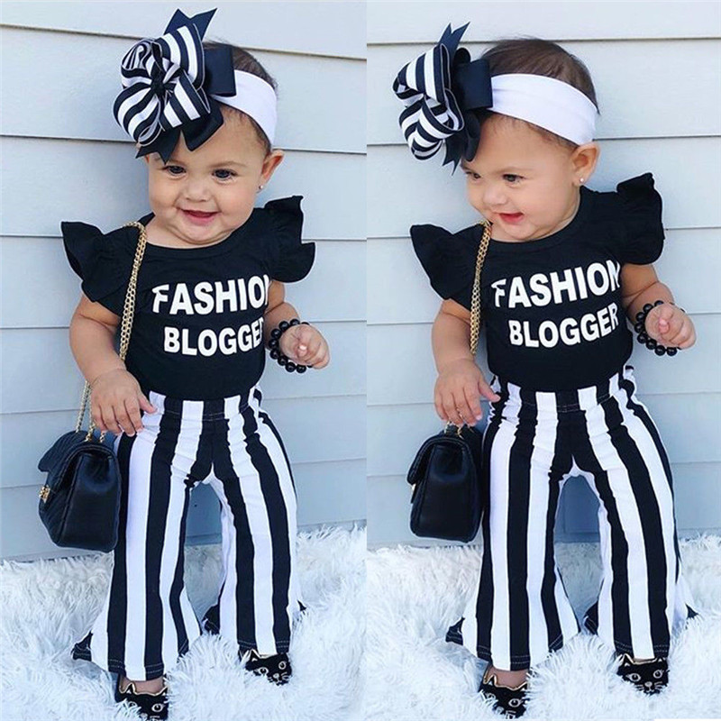 Summer Toddler Baby Kids Girls Bell Sleeve Striped Tops T-Shirt Long Pants Set
