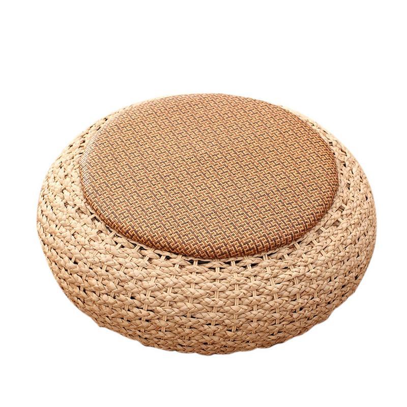 Tatami fait main paille coussin balcon sol épais rotin coussins paille tissé Futon herbe Pucao tapis de méditation