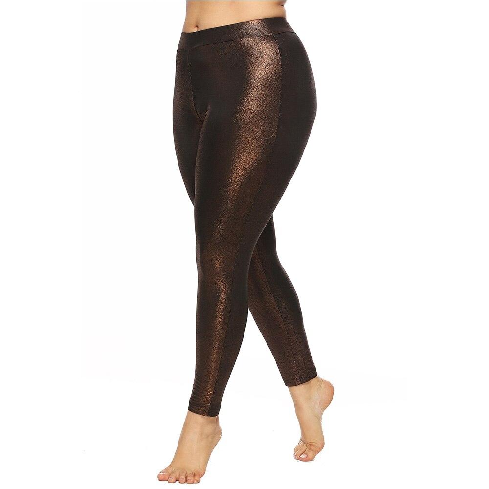 Wipalo Women Plus Size 5XL Skinny Shiny Glossy Leggings Fashion Solid Leggings Casual Pencil Pants Ladies Trousers Female Pants