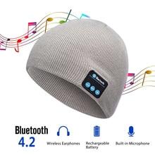 все цены на Bluetooth Smart Cap Headphone Headset Earphone Soft Warm Beanie Hat Speaker Music Hat Headphones with Microphone онлайн