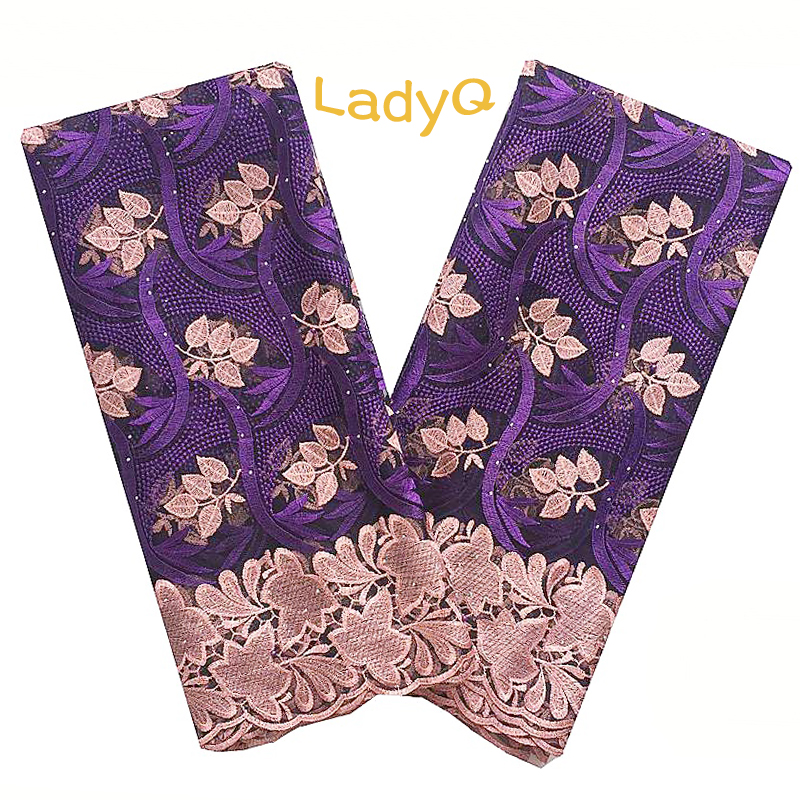 Purple Lace Fabric Embroidered Mesh African French Laces with Stone White Gold Green Nigerian Lace Fabric