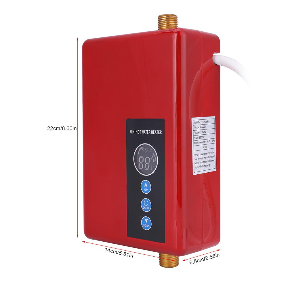 Black Instant Water Heater 220V 5500W Mini Electric Water Heater Tankless Shower Hot Water System for Bathroom Kitchen Household Washing