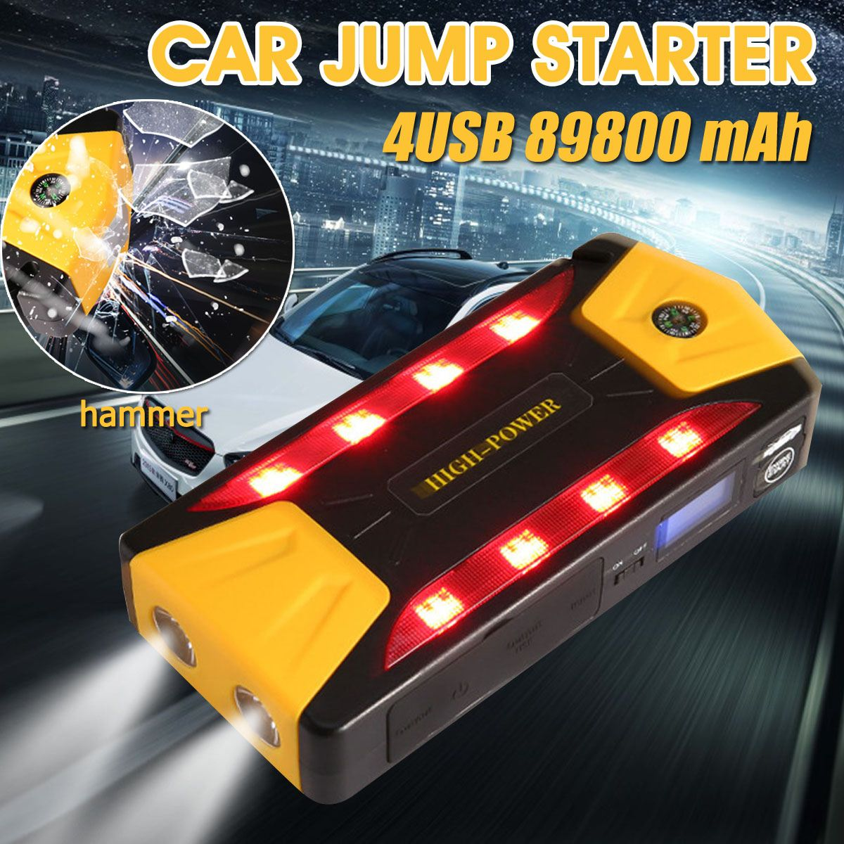 12 V 600A batterie externe 89800 mAh démarreur de saut de voiture 4USB Portable multifonction voiture batterie Booster dispositif de démarrage de secours