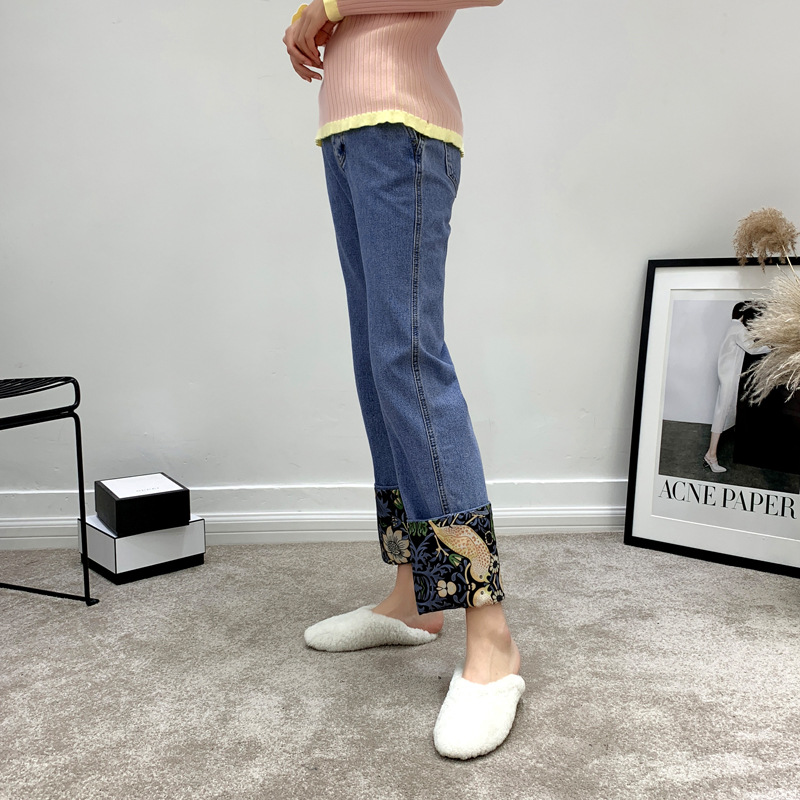 Jeans Printemps Floral Imprimé Streetwear Droite Zipper Bas 2019 Bleu Femmes Pantalon Denim Nouveau Patchwork Femelle qqEw7g