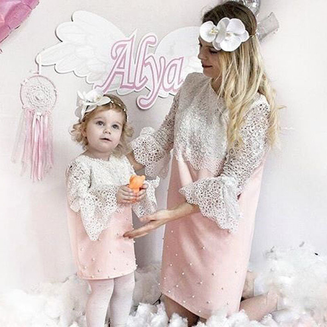 9997e53598 Mommy And Me Family Matching Mother Daughter Dress Birthday Party Dress For  Girls Clothes Ladies Dresses Mom Daughter Clothes