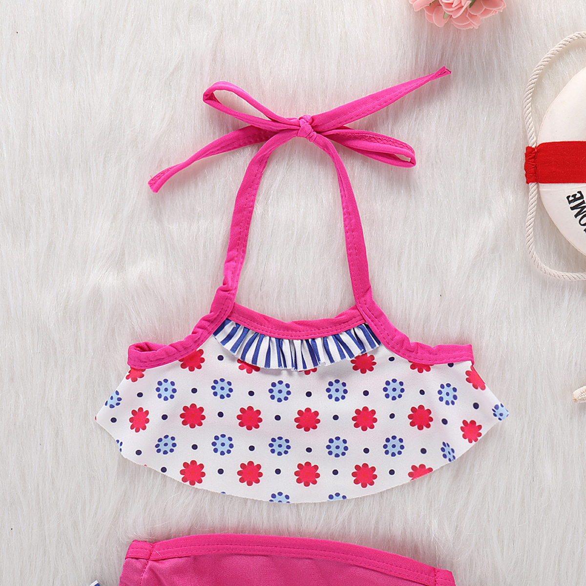 2019 New Baby Girls Two pieces Set Little Girl 2PCS Ruffle Halter Swimwear Bathing Suit Swimsuit Sets Kids Clothes in Clothing Sets from Mother Kids