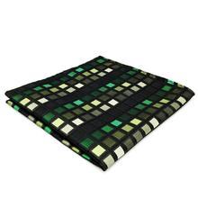 CH02 зеленый черный шашки Шелковый мужской, карманный, квадратный классический модный носовой платок платье свадебный платок