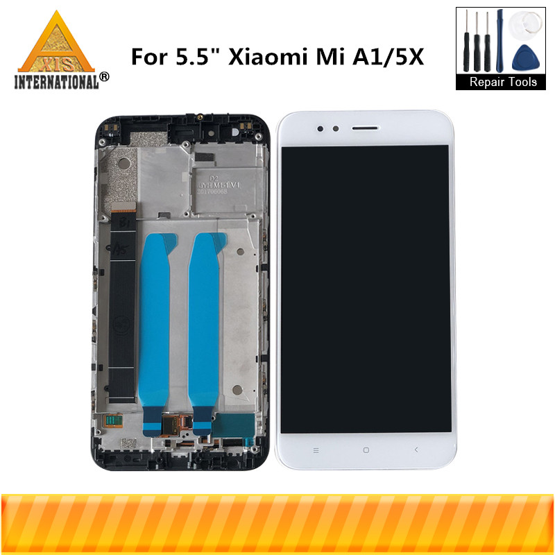 Original Axisinternational For Xiaomi Mi A1 MiA1 LCD Screen Display Touch Panel Digitizer With Frame For