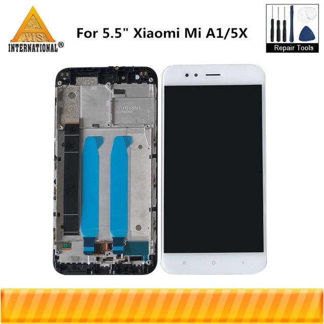 Axisinternational الأصلي ل شاومي Mi A1 MiA1 شاشة LCD عرض لوحة اللمس محول الأرقام مع الإطار ل MI5X Mi 5X العرض
