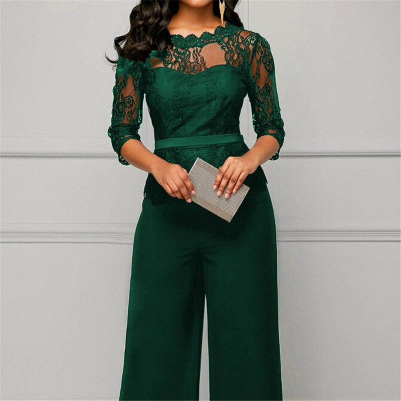 Fashion Women Plus Size Jumpsuit Hot Sale Loose Solid Color Playsuit Party Romper Half Lace Sleeve Party Elegant Long Jumpsuit