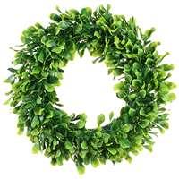 Искусственные зеленые листья венок-15 дюймов самшита венок открытый зеленый венок для передней двери стены окно вечерние Декор