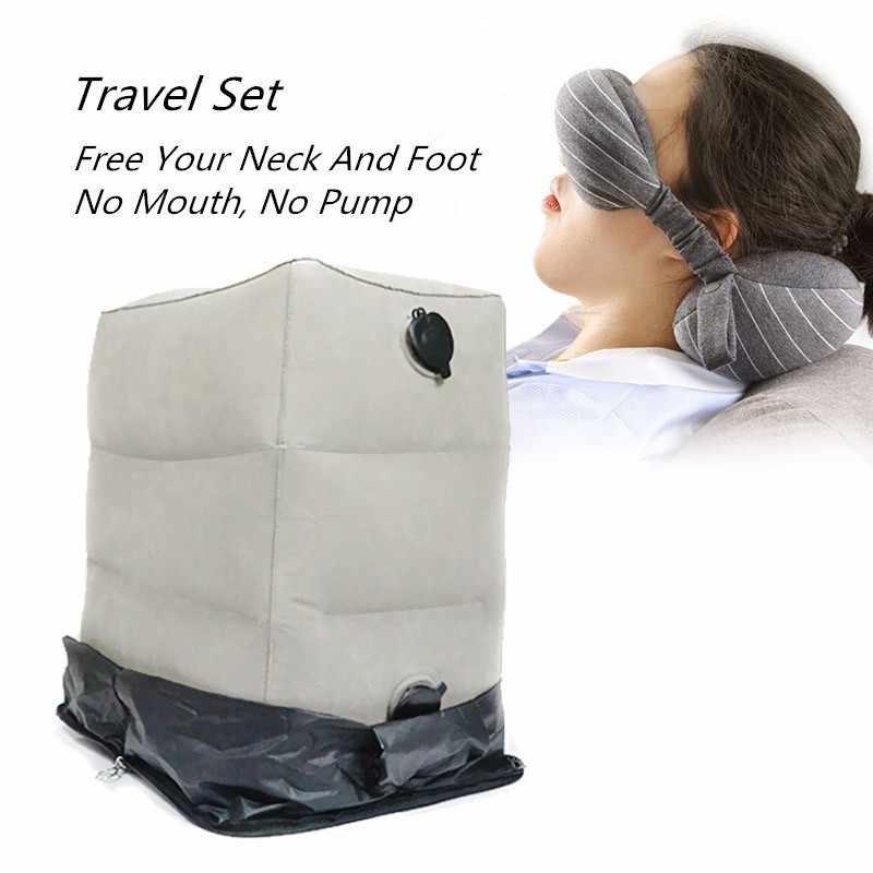 2019 Paling Inovatif Perjalanan Set Tiup Kaki Sisanya Bantal dengan Penutup Debu Tas Penyimpanan Masker Mata Perjalanan Leher Bantal Pesawat