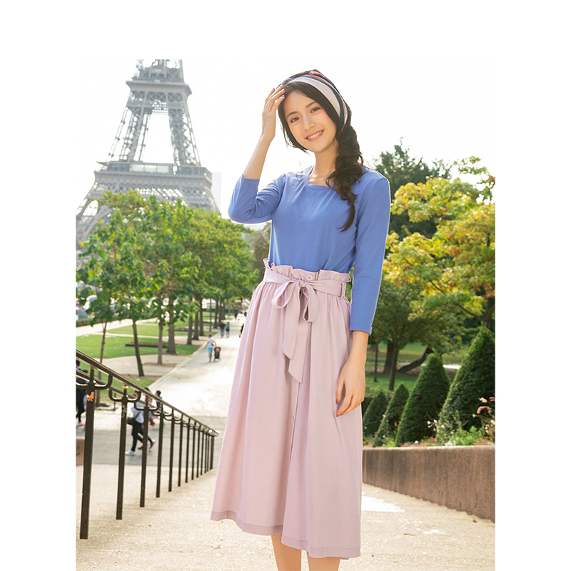 INMAN Spring Autumn O-neck Literary Retro With Belt Slim Contrast Color Fake Two Pieces Women Dress
