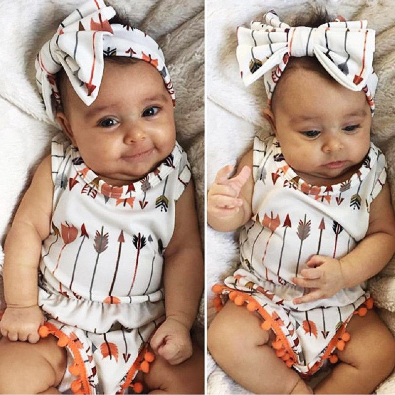 Pudcoco Girl Jumpsuits 0-24M US Newborn Baby Girl Cotton Arrow   Romper   Jumpsuit Outfits Clothes