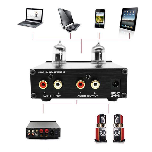 US $49 99 25% OFF FX audio Tube 03 80W Bile Preamp 6j1 Electron Tube  Digital HiFi Amplifier Treble & Bass Metal Audio Amplifier 12V1A-in  Headphone