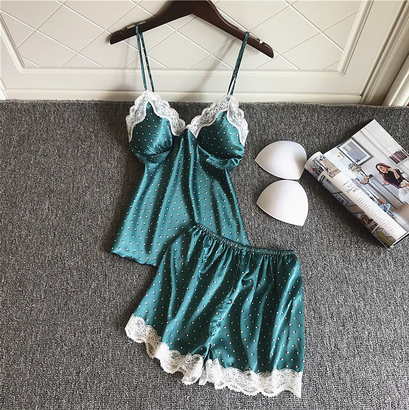 2019 Satin Pyjamas Women   Pajamas     Sets   With Shorts Flower Print Sleeveless Silk Sleepwear Pijama Nightsuit Chest Pads