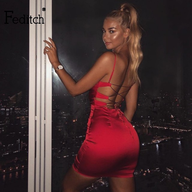 Feditch Spaghetti Strap Sexy Bodycon Dress Women Spring Solid Two Piece  Party Dresses Satin Casual Ladies Female Dress Vestidos 6f4b77e77999