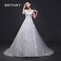BRITNRY 2019 Elegant New Hot Selling Ball Gown Lace Up Back Formal Bride Dresses Lace Illusion Wedding Dress Vestido de Noiva