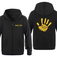 17bde7a61 Jeep Wave Handprint Grill Wrangler Club Creative Sweatshirts Men 2018 Mens  Zipper Hooded Fleece Hoodies Cardigans