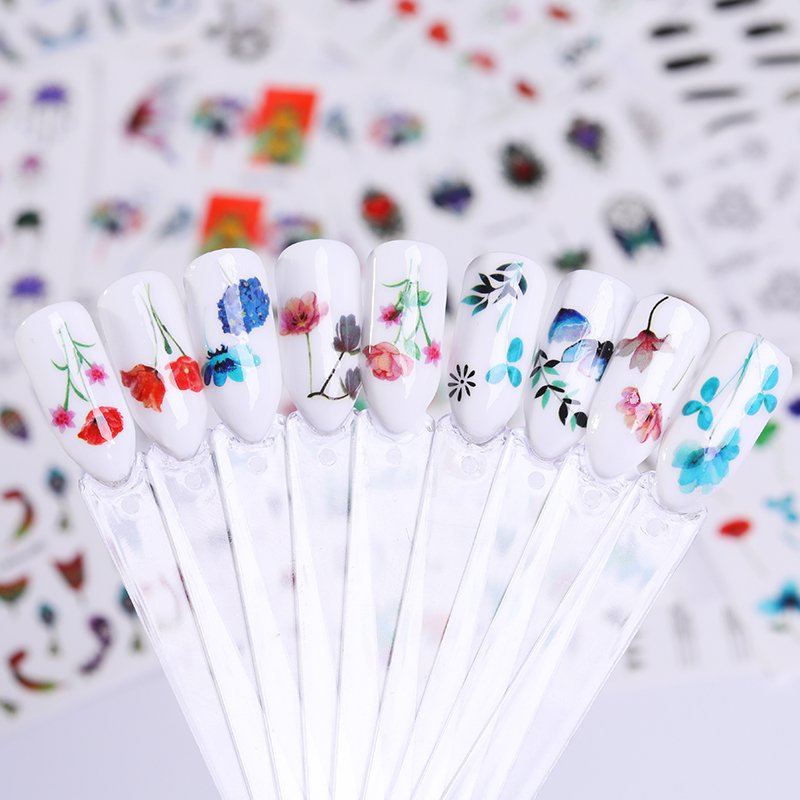 Image 2 - LEMOOC 45Pcs/Set Black Flower Water Transfer Decals Colorful Nail Art Stickers Butterfly Lace Dream Catcher Nail Stickers-in Stickers & Decals from Beauty & Health
