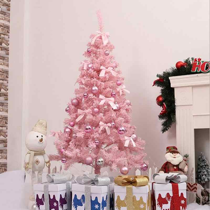 1fa0e27770ed Pink Christmas Tree With LED Light DIY Artificial Christmas Tree Xmas Party  Holiday Ornament Home Decor Office Decorations